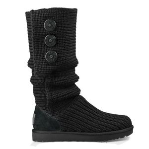UGG Classic Cardy Black Knit Boot